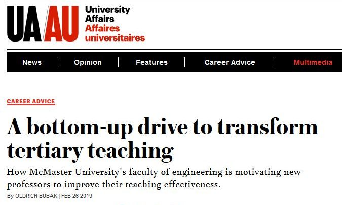University Affairs Article
